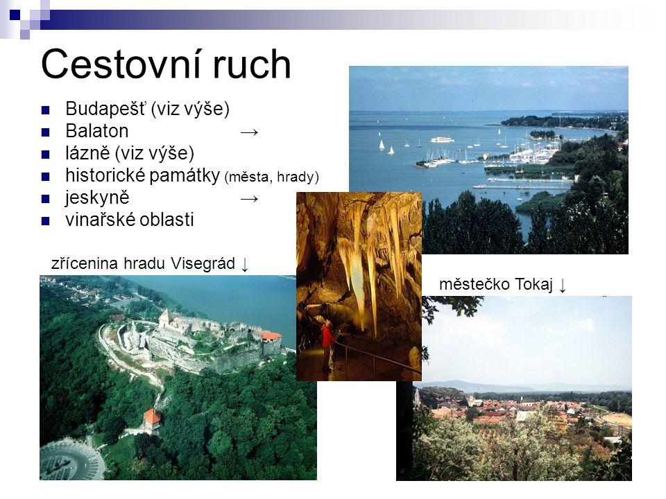 Cestovní ruch Budapešť (viz výše) Balaton → lázně (viz výše) historické památky (města, hrady) jeskyně→ vinařské oblasti zřícenina hradu Visegrád ↓ mě