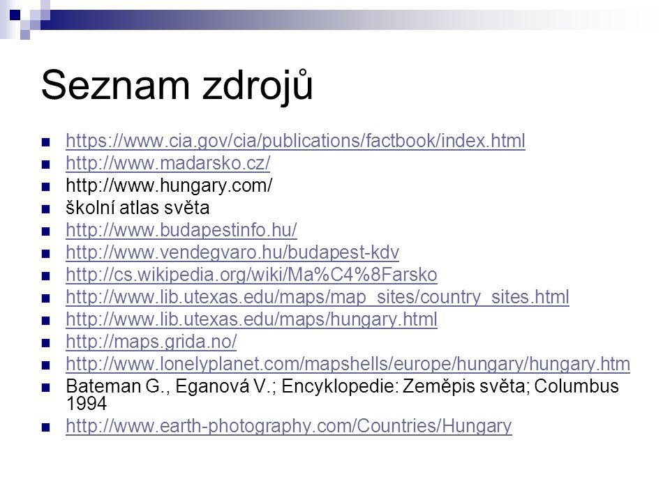 Seznam zdrojů https://www.cia.gov/cia/publications/factbook/index.html http://www.madarsko.cz/ http://www.hungary.com/ školní atlas světa http://www.b