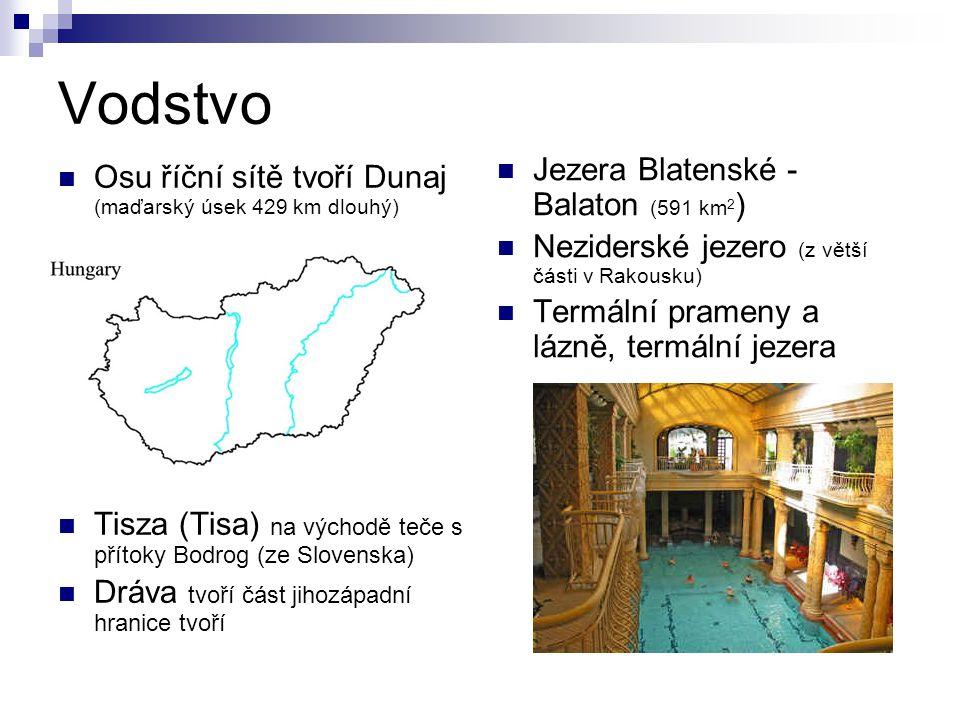 Vodstvo Osu říční sítě tvoří Dunaj (maďarský úsek 429 km dlouhý) Tisza (Tisa) na východě teče s přítoky Bodrog (ze Slovenska) Dráva tvoří část jihozáp