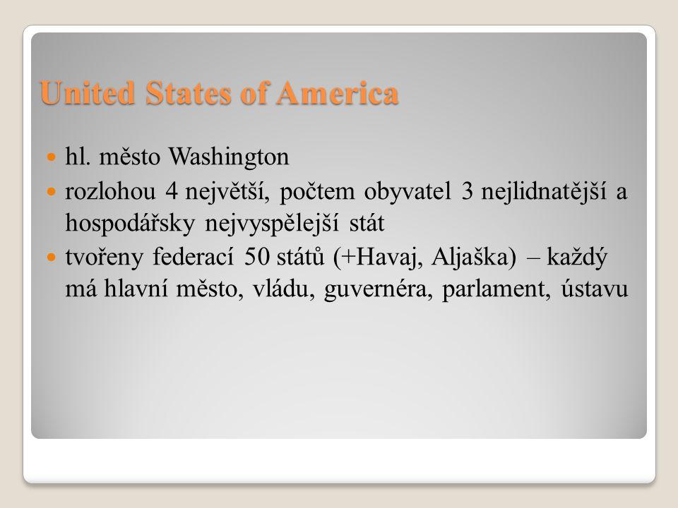 USA – demokratický stát (prezident, kongres, nejvyšší soud).