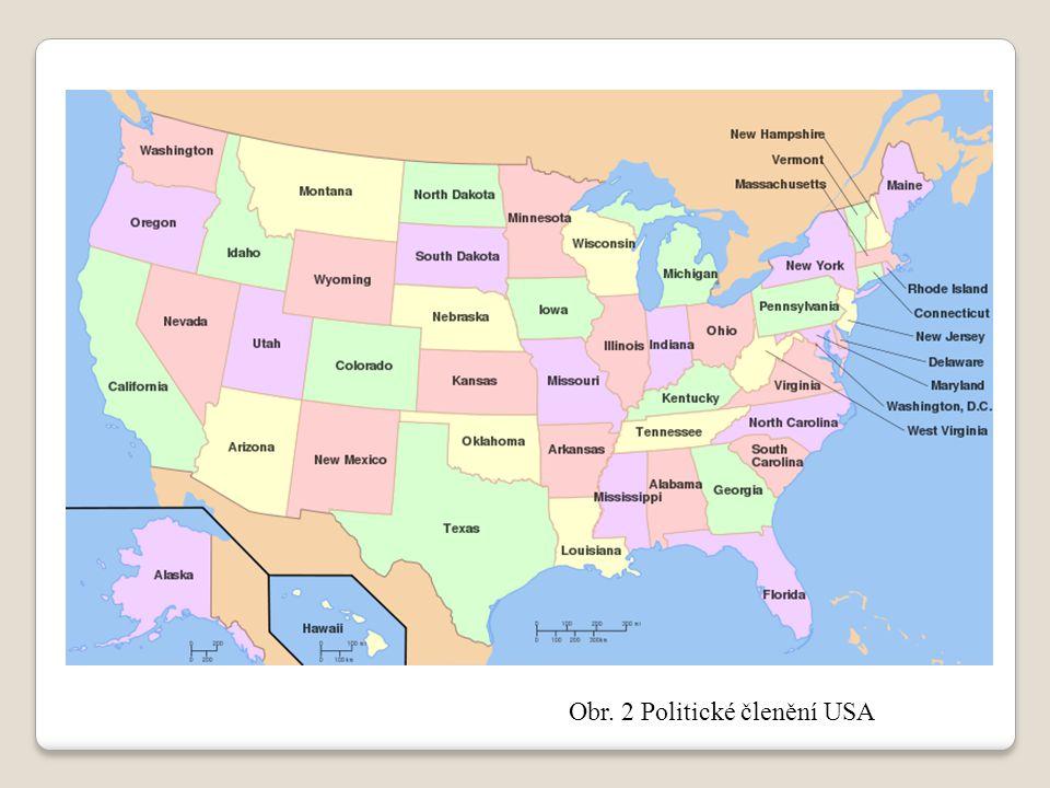 Obr. 2 Politické členění USA