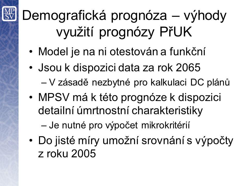 Demografická prognóza – výhody využití prognózy PřUK Model je na ni otestován a funkční Jsou k dispozici data za rok 2065 –V zásadě nezbytné pro kalkulaci DC plánů MPSV má k této prognóze k dispozici detailní úmrtnostní charakteristiky –Je nutné pro výpočet mikrokritérií Do jisté míry umožní srovnání s výpočty z roku 2005