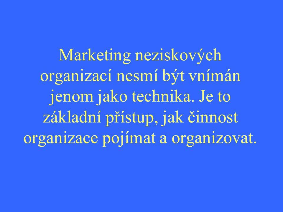 Marketing neziskových organizací nesmí být vnímán jenom jako technika. Je to základní přístup, jak činnost organizace pojímat a organizovat.