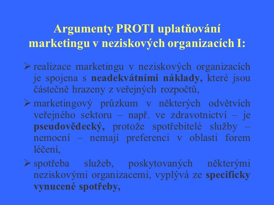 Argumenty PROTI uplatňování marketingu v neziskových organizacích I:  realizace marketingu v neziskových organizacích je spojena s neadekvátními nákl
