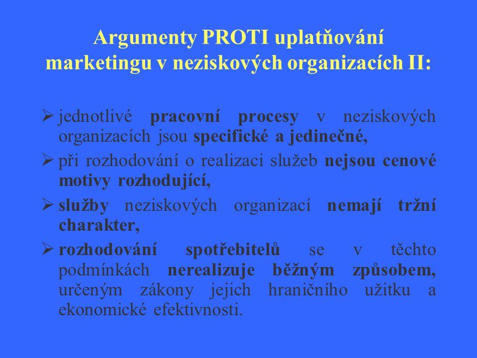 Argumenty PROTI uplatňování marketingu v neziskových organizacích II:  jednotlivé pracovní procesy v neziskových organizacích jsou specifické a jedin