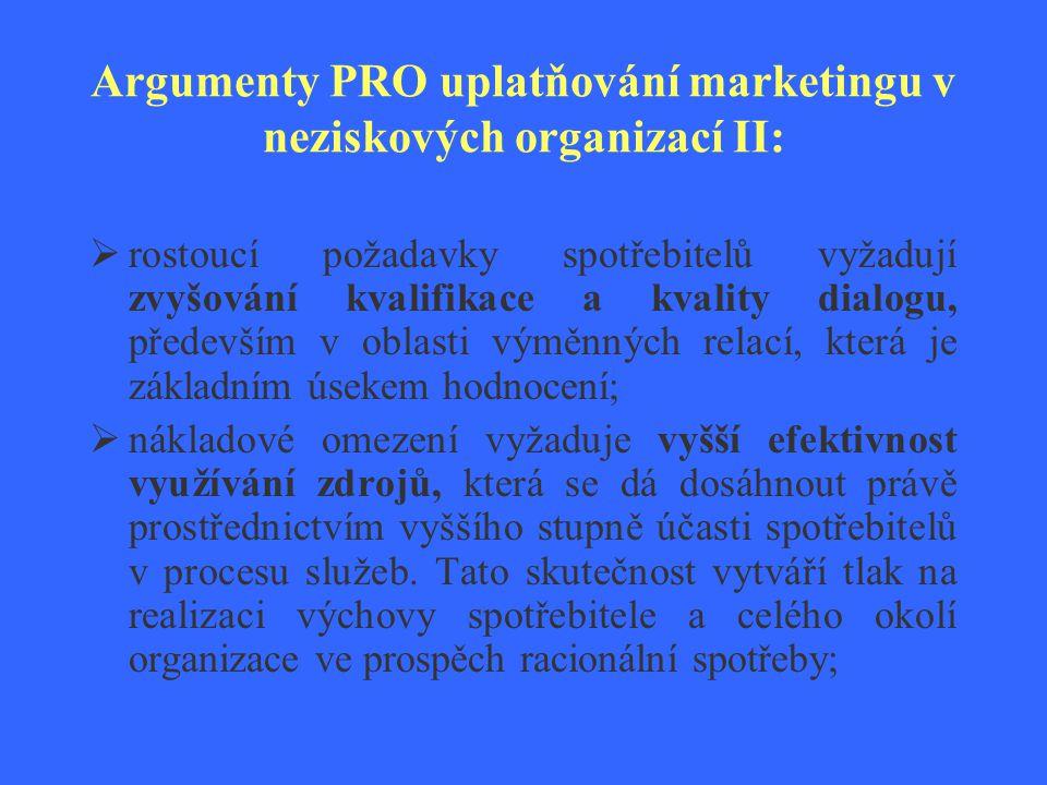 Argumenty PRO uplatňování marketingu v neziskových organizací III:  rostoucí profesionální úroveň pracovní síly vyžaduje vyšší úroveň managementu vnitropodnikových vztahů, tj.