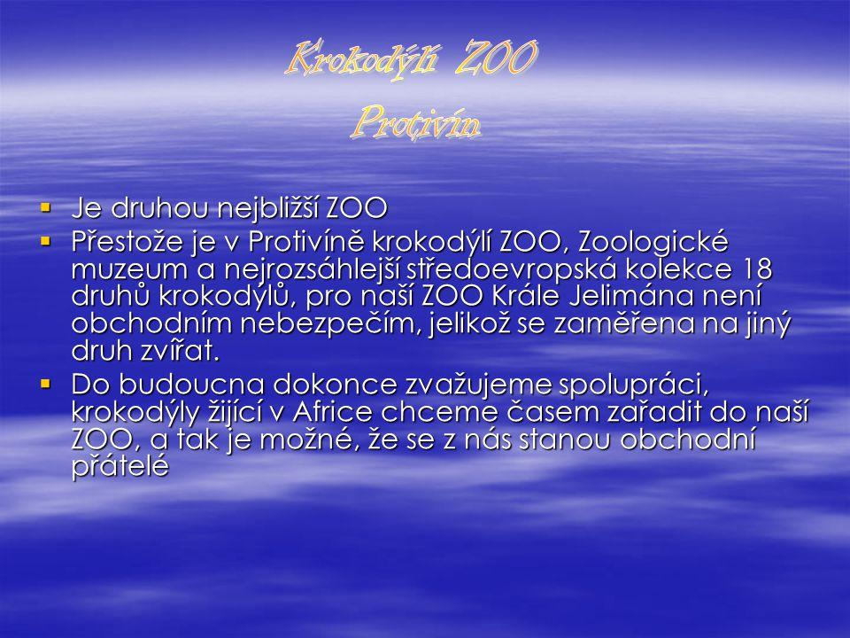  Je druhou nejbližší ZOO  Přestože je v Protivíně krokodýlí ZOO, Zoologické muzeum a nejrozsáhlejší středoevropská kolekce 18 druhů krokodýlů, pro naší ZOO Krále Jelimána není obchodním nebezpečím, jelikož se zaměřena na jiný druh zvířat.