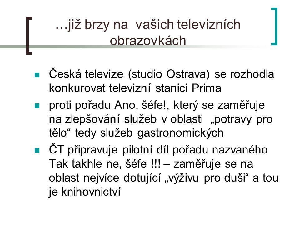 """…již brzy na vašich televizních obrazovkách Česká televize (studio Ostrava) se rozhodla konkurovat televizní stanici Prima proti pořadu Ano, šéfe!, který se zaměřuje na zlepšování služeb v oblasti """"potravy pro tělo tedy služeb gastronomických ČT připravuje pilotní díl pořadu nazvaného Tak takhle ne, šéfe !!."""
