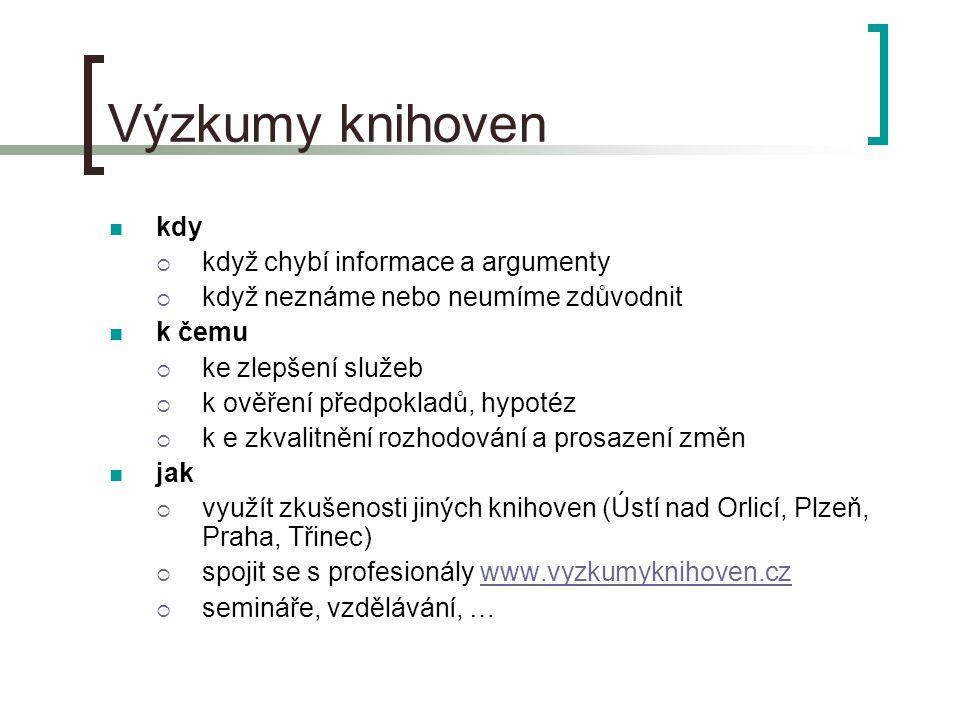 Výzkumy knihoven kdy  když chybí informace a argumenty  když neznáme nebo neumíme zdůvodnit k čemu  ke zlepšení služeb  k ověření předpokladů, hypotéz  k e zkvalitnění rozhodování a prosazení změn jak  využít zkušenosti jiných knihoven (Ústí nad Orlicí, Plzeň, Praha, Třinec)  spojit se s profesionály www.vyzkumyknihoven.czwww.vyzkumyknihoven.cz  semináře, vzdělávání, …