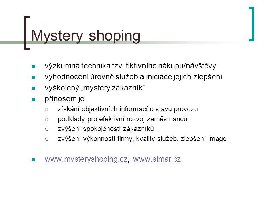 Mystery shoping výzkumná technika tzv.
