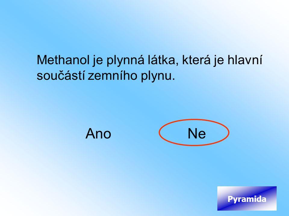 Methanol je plynná látka, která je hlavní součástí zemního plynu. AnoNe Pyramida