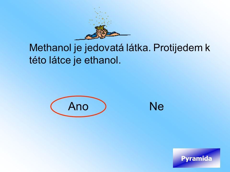 Methanol je jedovatá látka. Protijedem k této látce je ethanol. AnoNe Pyramida