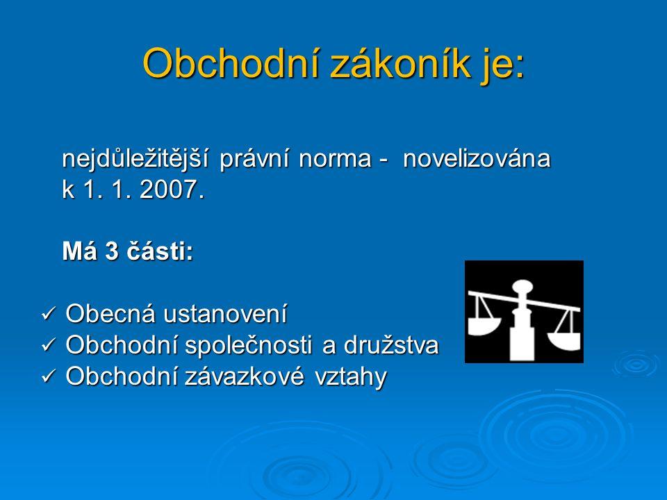 Obchodní zákoník je: nejdůležitější právní norma - novelizována nejdůležitější právní norma - novelizována k 1. 1. 2007. k 1. 1. 2007. Má 3 části: Má