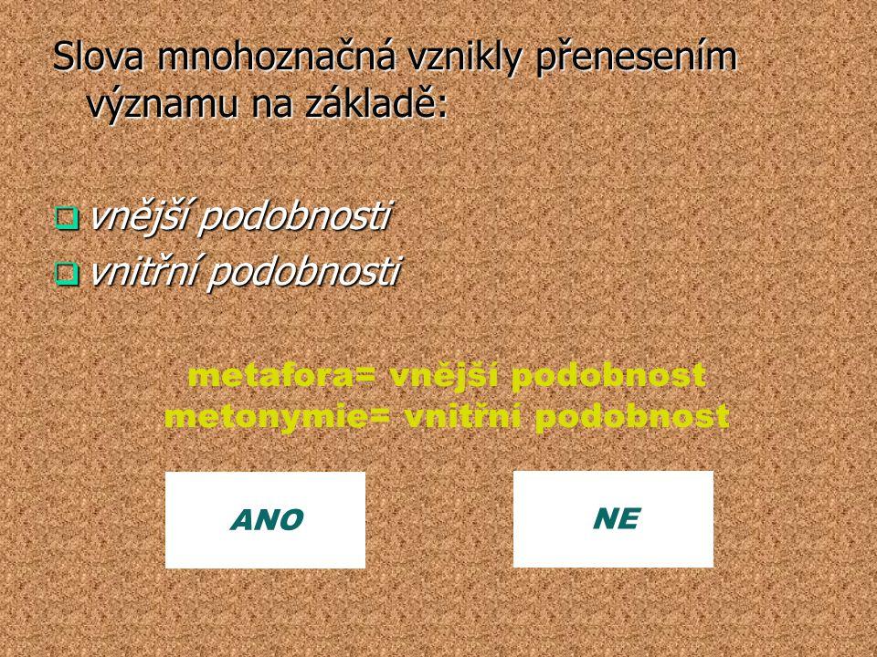 ANO NE metafora= vnější podobnost metonymie= vnitřní podobnost Slova mnohoznačná vznikly přenesením významu na základě:  vnější podobnosti  vnitřní