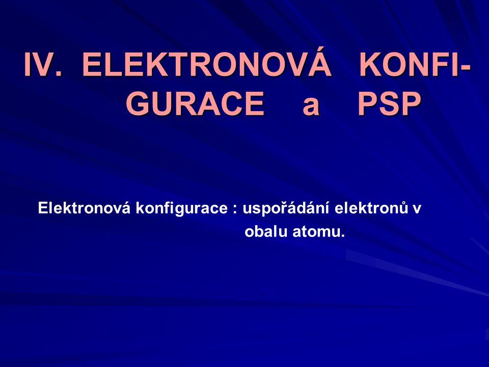 IV. ELEKTRONOVÁ KONFI- GURACE a PSP Elektronová konfigurace : uspořádání elektronů v obalu atomu.