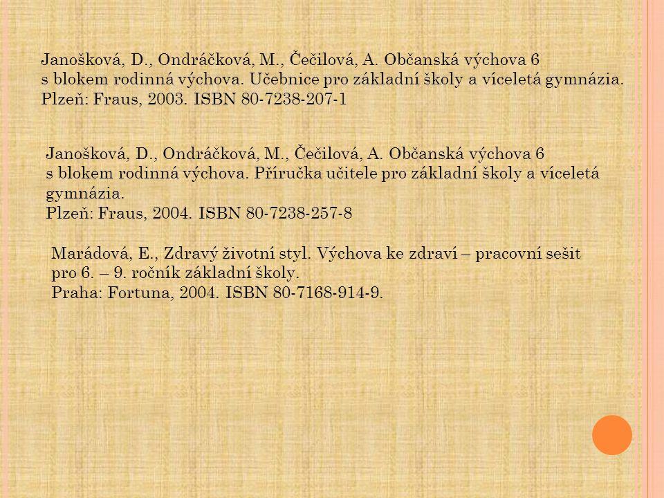 Janošková, D., Ondráčková, M., Čečilová, A. Občanská výchova 6 s blokem rodinná výchova. Učebnice pro základní školy a víceletá gymnázia. Plzeň: Fraus