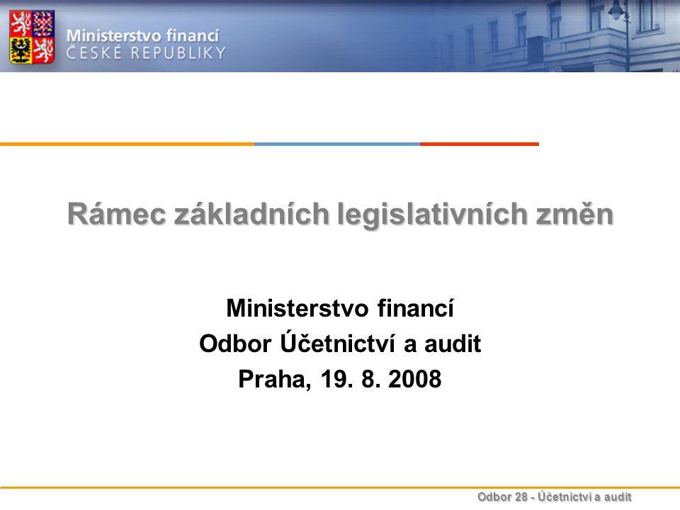 Odbor 28 - Účetnictví a audit Stávající stav vybraných účetních metod – ORGANIZAČNÍ SLOŽKY STÁTU Reálná hodnotaNe EkvivalenceNe Opravné položkyNe Odpisy majetkuNe RezervyNe Časové rozlišeníNe Metody konsolidaceNe Kursové rozdílyAno