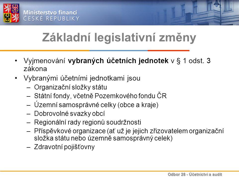 Odbor 28 - Účetnictví a audit Základní legislativní změny Rozšíření zmocnění pro vydávání prováděcích vyhlášek k zákonu o účetnictví –toto rozšíření zmocnění se týká 3 nových vyhlášek Vyhlášky č.