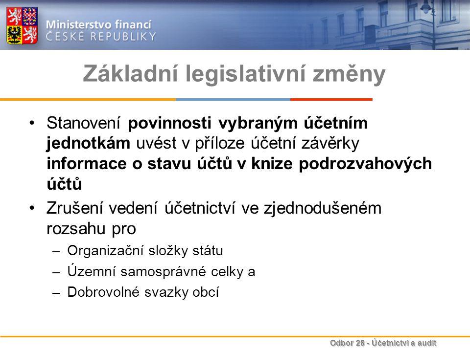 Odbor 28 - Účetnictví a audit Základní legislativní změny Rozšíření směrné účtové osnovy o možnost závazně stanovit vybraným účetním jednotkám uspořádání a označení –analytických účtů a –podrozvahových účtů