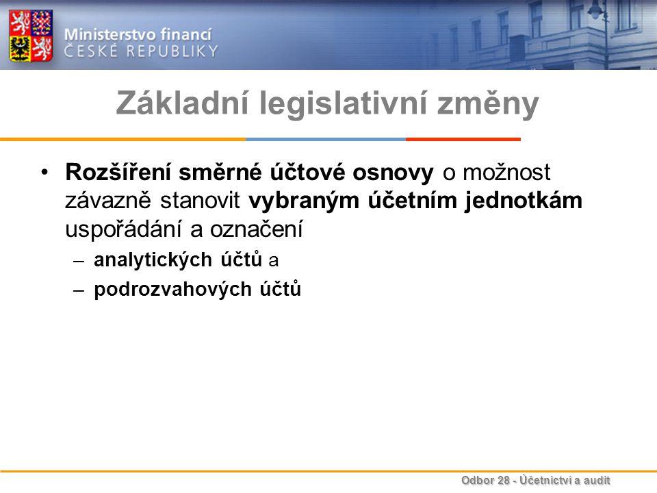 Odbor 28 - Účetnictví a audit Základní legislativní změny Vymezení účetních výkazů za Českou republiku zákonem a jejich členění na tyto části –Souhrnný výkaz majetku a závazků státu –Souhrnný výkaz nákladů a výnosů státu –Výkaz peněžních toků –Přílohu Stanovení povinnosti součinnosti účetním jednotkám zahrnutým do konsolidačního celku nebo do dílčích konsolidačních celků s účetní jednotkou sestavující konsolidované účetní výkazy