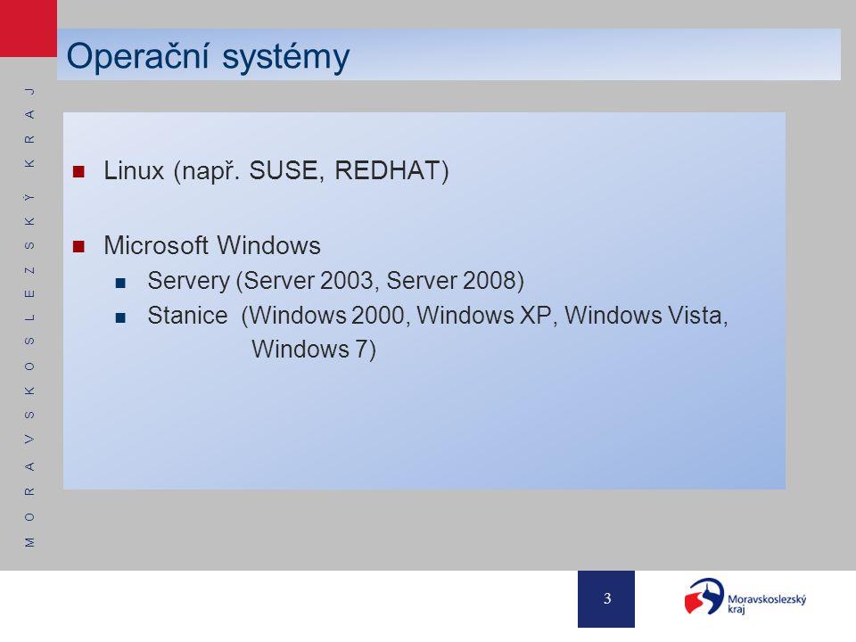 M O R A V S K O S L E Z S K Ý K R A J 3 Operační systémy Linux (např. SUSE, REDHAT) Microsoft Windows Servery (Server 2003, Server 2008) Stanice (Wind