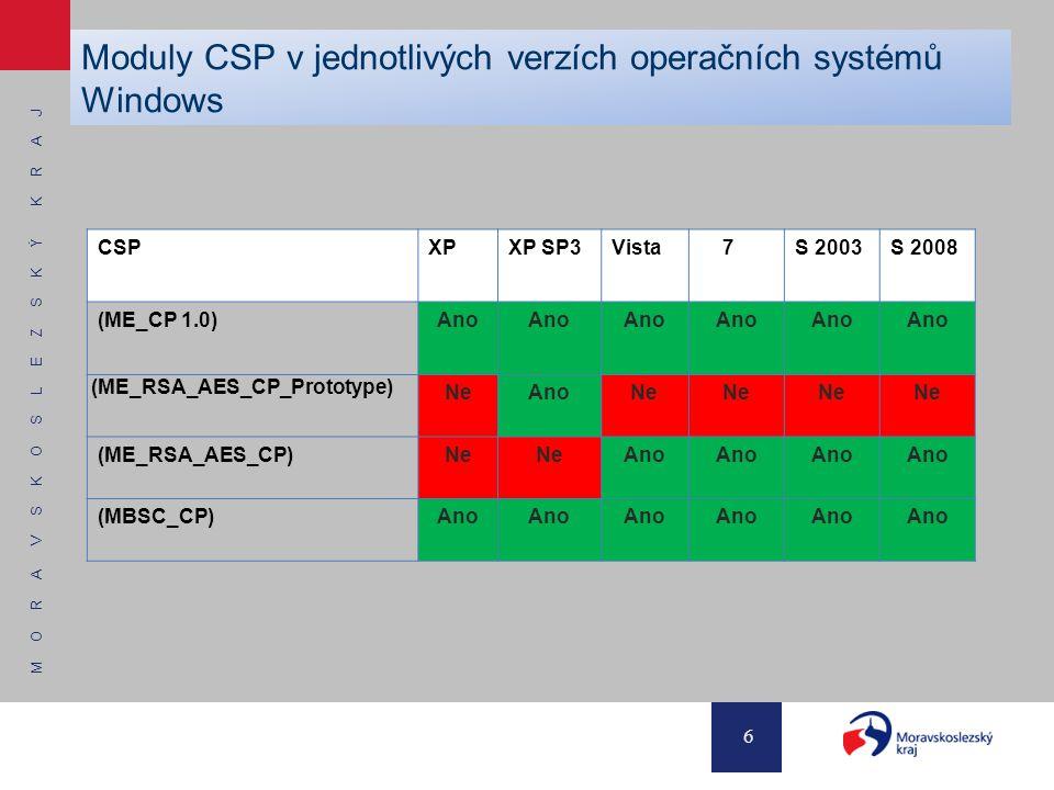 M O R A V S K O S L E Z S K Ý K R A J 6 Moduly CSP v jednotlivých verzích operačních systémů Windows CSPXPXP SP3Vista 7S 2003S 2008 (ME_CP 1.0)Ano (ME