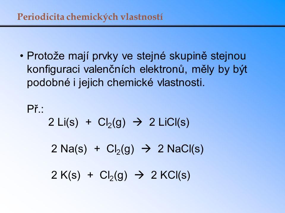 Periodicita chemických vlastností Protože mají prvky ve stejné skupině stejnou konfiguraci valenčních elektronů, měly by být podobné i jejich chemické