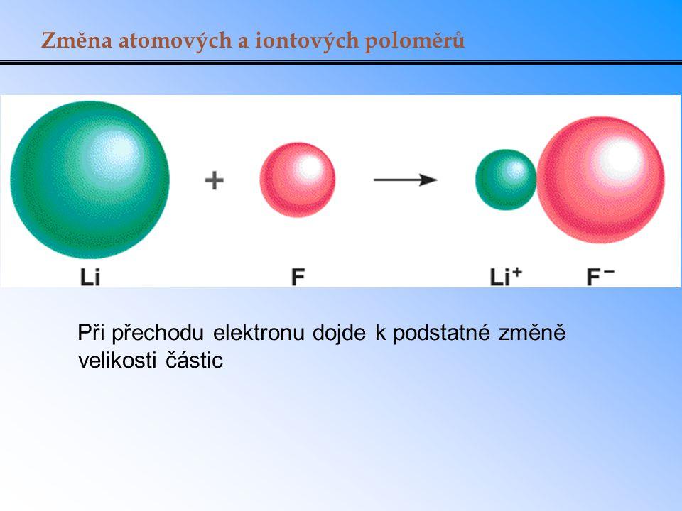 Změna atomových a iontových poloměrů Při přechodu elektronu dojde k podstatné změně velikosti částic