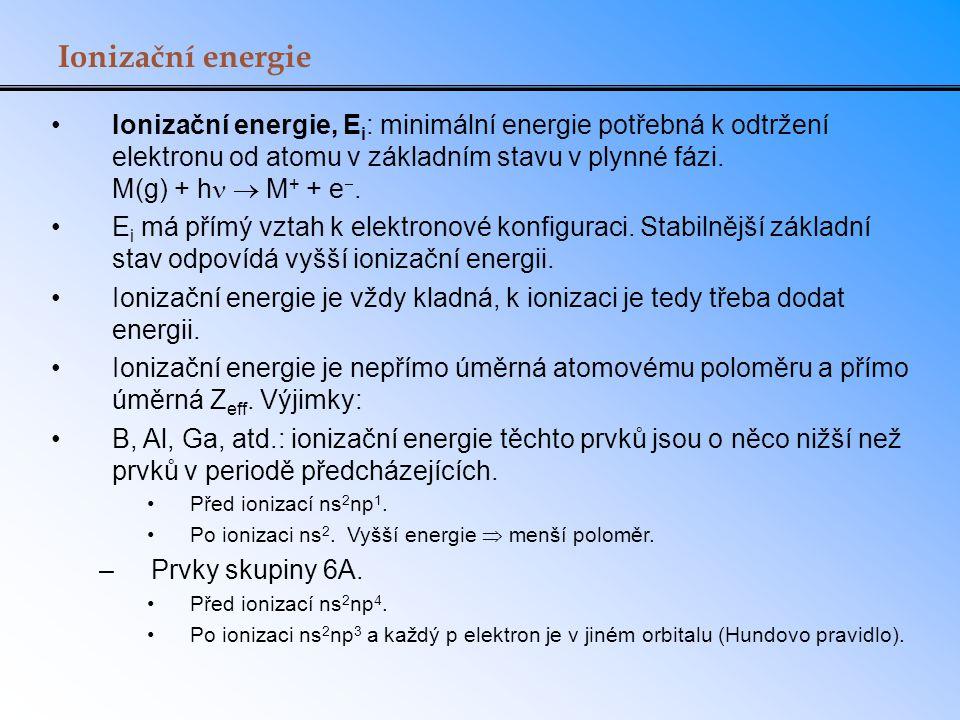 Ionizační energie Ionizační energie, E i : minimální energie potřebná k odtržení elektronu od atomu v základním stavu v plynné fázi. M(g) + h  M + +