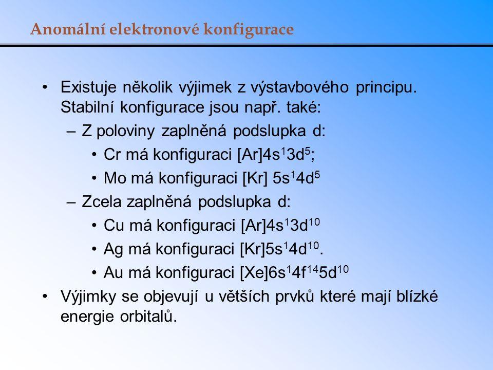 Anomální elektronové konfigurace Existuje několik výjimek z výstavbového principu. Stabilní konfigurace jsou např. také: –Z poloviny zaplněná podslupk