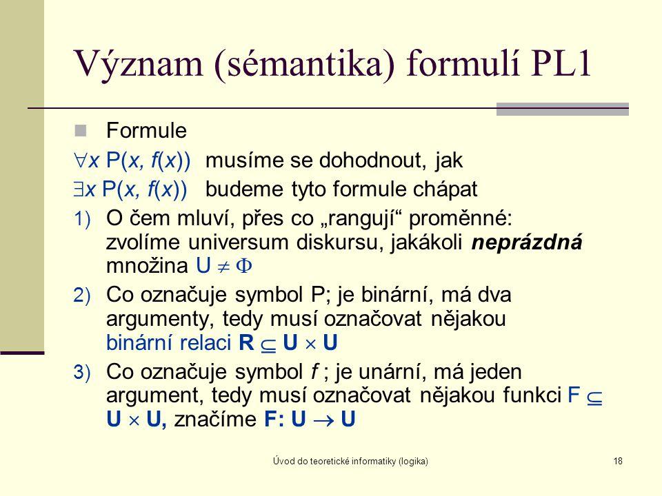 Úvod do teoretické informatiky (logika)18 Význam (sémantika) formulí PL1 Formule  x P(x, f(x))musíme se dohodnout, jak  x P(x, f(x))budeme tyto form