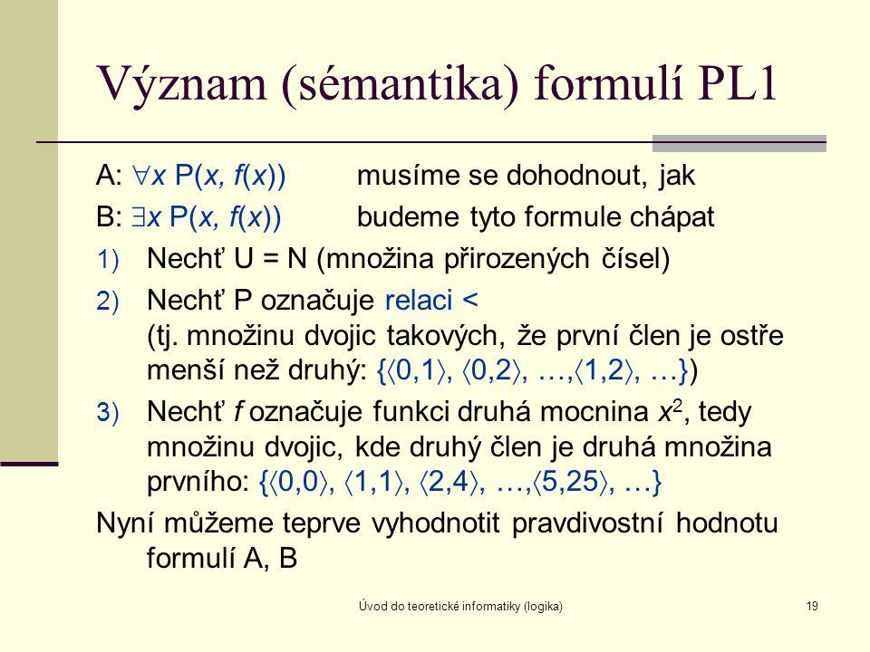 Úvod do teoretické informatiky (logika)19 Význam (sémantika) formulí PL1 A:  x P(x, f(x))musíme se dohodnout, jak B:  x P(x, f(x))budeme tyto formul