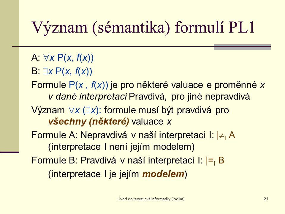 Úvod do teoretické informatiky (logika)21 Význam (sémantika) formulí PL1 A:  x P(x, f(x)) B:  x P(x, f(x)) Formule P(x, f(x)) je pro některé valuace