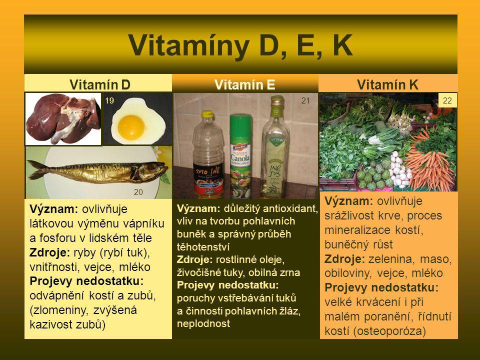 Vitamíny D, E, K Vitamín D Význam: ovlivňuje látkovou výměnu vápníku a fosforu v lidském těle Zdroje: ryby (rybí tuk), vnitřnosti, vejce, mléko Projev