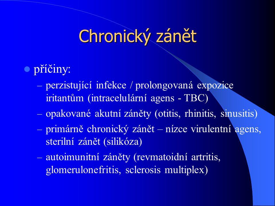 Chronický zánět příčiny: – perzistující infekce / prolongovaná expozice iritantům (intracelulární agens - TBC) – opakované akutní záněty (otitis, rhinitis, sinusitis) – primárně chronický zánět – nízce virulentní agens, sterilní zánět (silikóza) – autoimunitní záněty (revmatoidní artritis, glomerulonefritis, sclerosis multiplex)