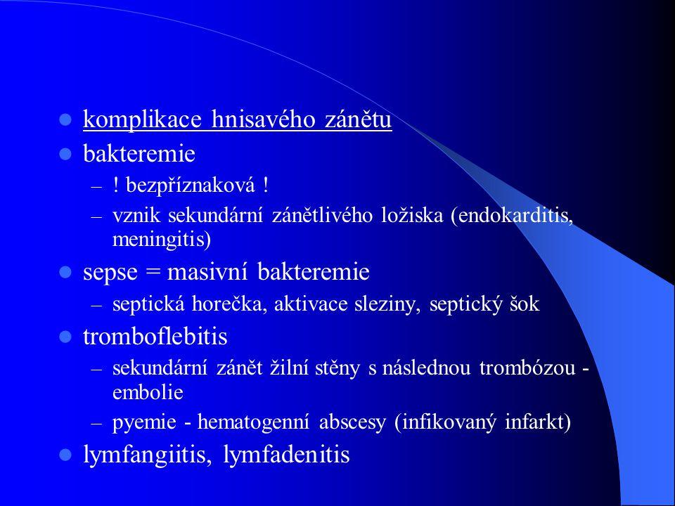 komplikace hnisavého zánětu bakteremie – ! bezpříznaková ! – vznik sekundární zánětlivého ložiska (endokarditis, meningitis) sepse = masivní bakteremi