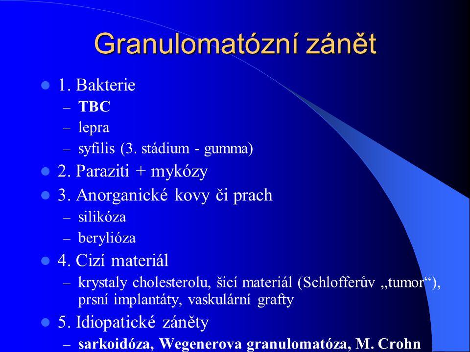 Granulomatózní zánět 1. Bakterie – TBC – lepra – syfilis (3. stádium - gumma) 2. Paraziti + mykózy 3. Anorganické kovy či prach – silikóza – berylióza