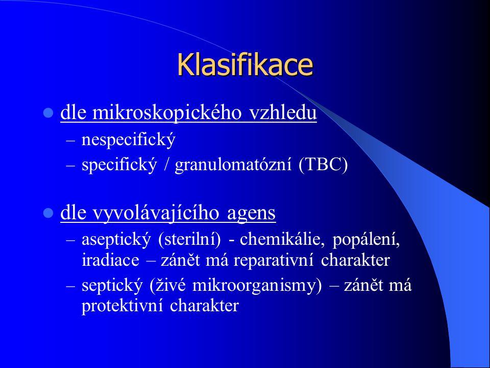 Klasifikace dle mikroskopického vzhledu – nespecifický – specifický / granulomatózní (TBC) dle vyvolávajícího agens – aseptický (sterilní) - chemikálie, popálení, iradiace – zánět má reparativní charakter – septický (živé mikroorganismy) – zánět má protektivní charakter