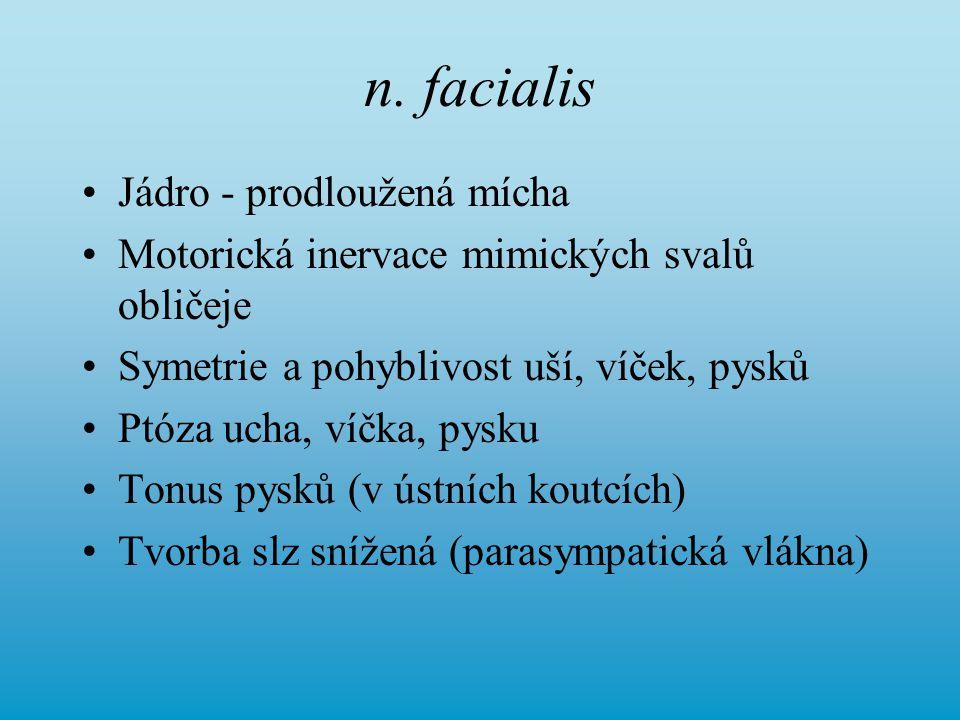 n. facialis Jádro - prodloužená mícha Motorická inervace mimických svalů obličeje Symetrie a pohyblivost uší, víček, pysků Ptóza ucha, víčka, pysku To