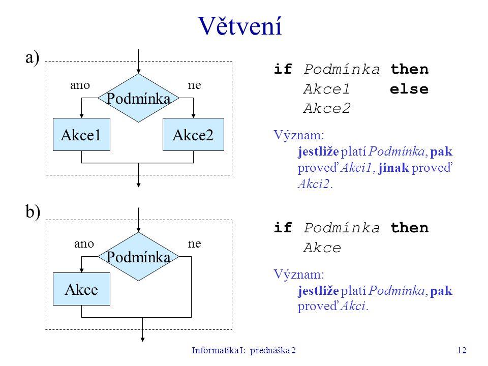 Informatika I: přednáška 212 Větvení Podmínka Akce1Akce2 if Podmínka then Akce1 else Akce2 Význam: jestliže platí Podmínka, pak proveď Akci1, jinak pr