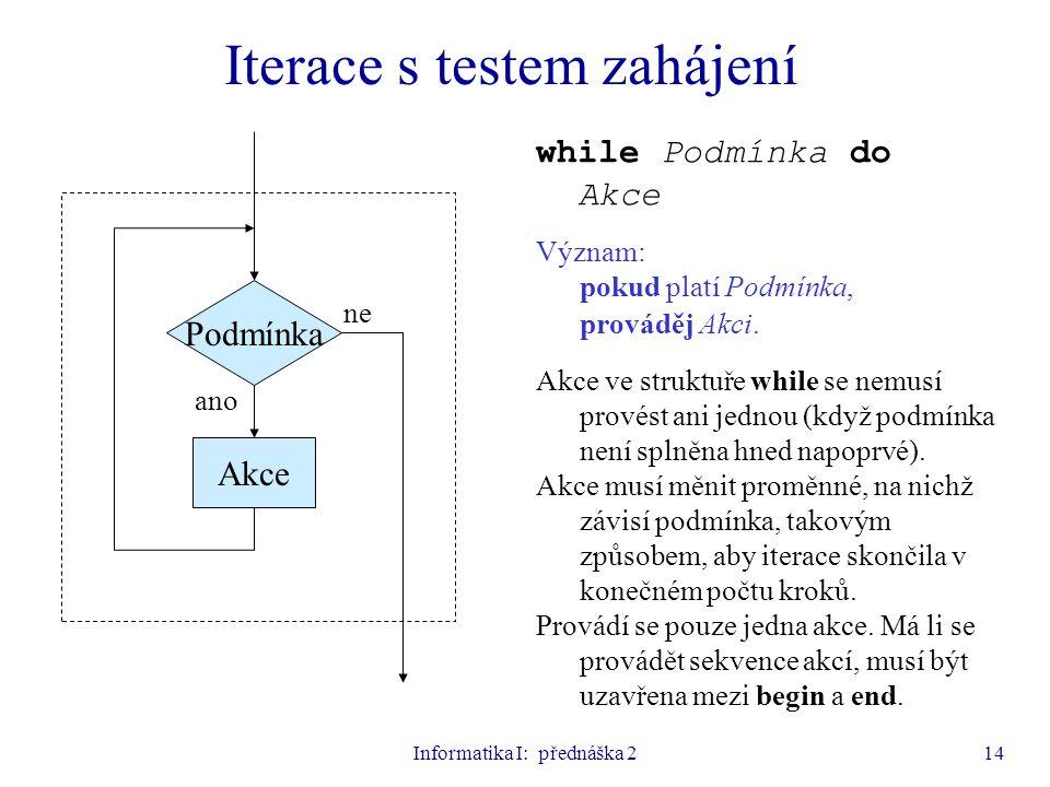 Informatika I: přednáška 214 Iterace s testem zahájení Podmínka Akce ano ne while Podmínka do Akce Význam: pokud platí Podmínka, prováděj Akci. Akce v