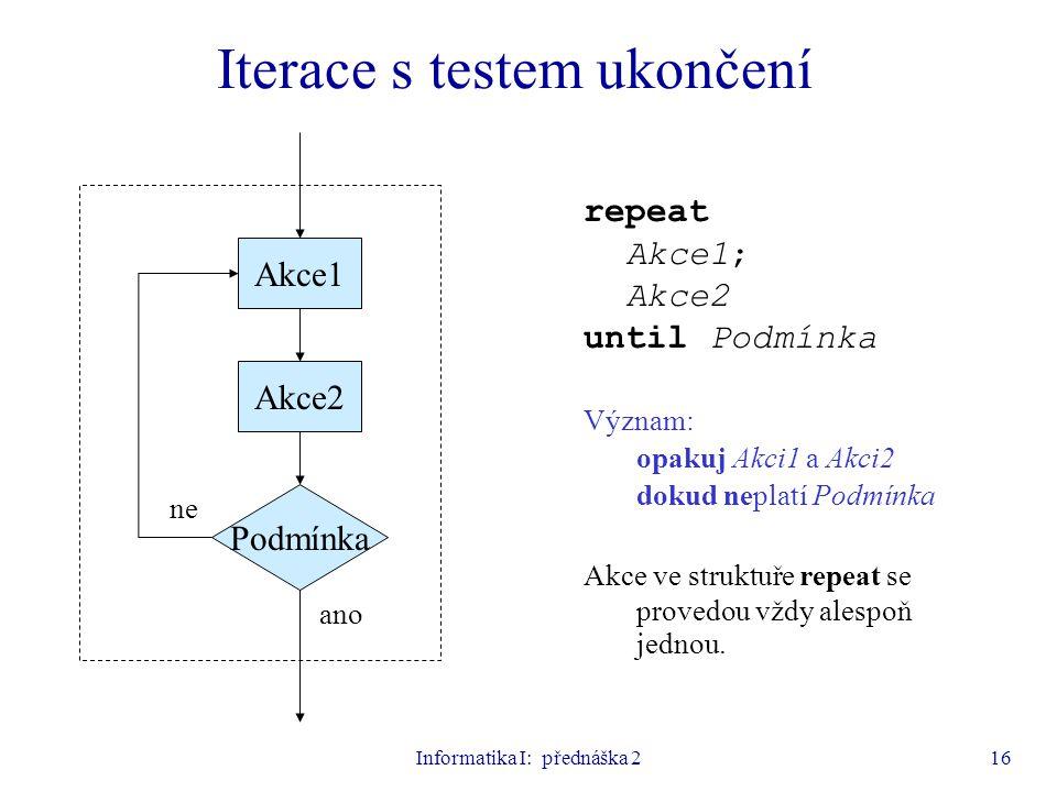 Informatika I: přednáška 216 Podmínka Akce1 ano ne repeat Akce1; Akce2 until Podmínka Význam: opakuj Akci1 a Akci2 dokud neplatí Podmínka Akce ve stru