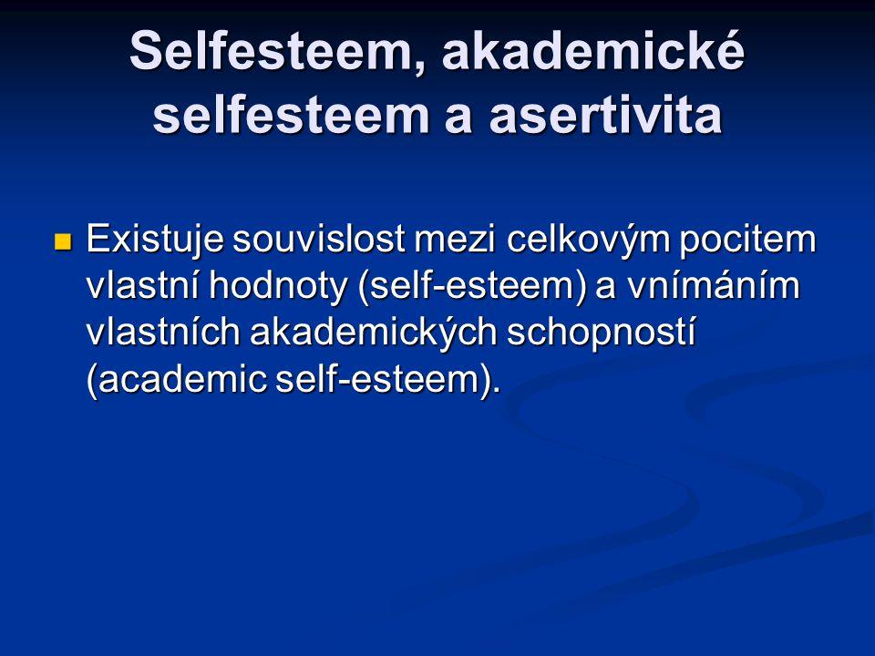 Selfesteem, akademické selfesteem a asertivita Existuje souvislost mezi celkovým pocitem vlastní hodnoty (self-esteem) a vnímáním vlastních akademický