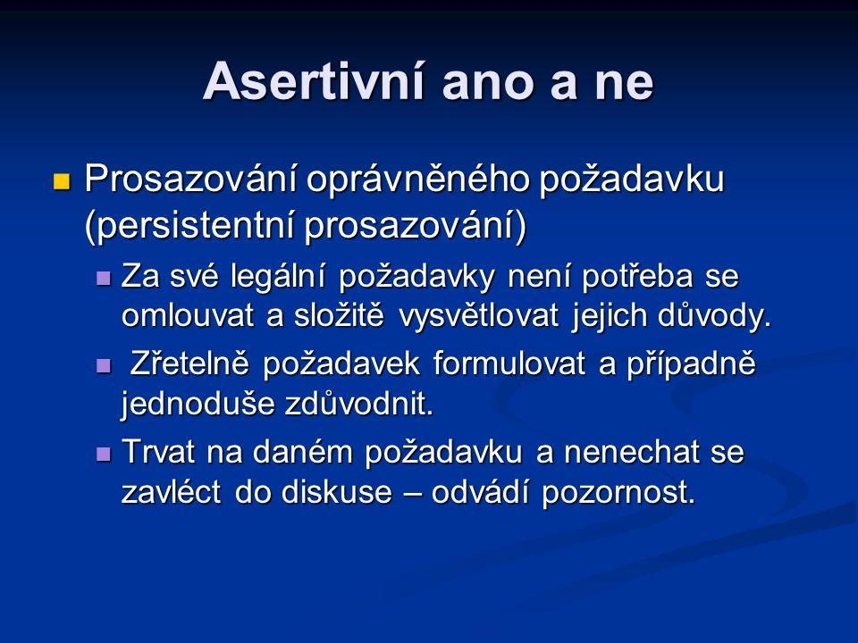 Asertivní ano a ne Prosazování oprávněného požadavku (persistentní prosazování) Prosazování oprávněného požadavku (persistentní prosazování) Za své le