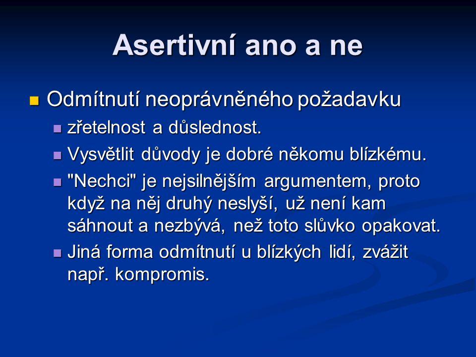 Asertivní ano a ne Odmítnutí neoprávněného požadavku Odmítnutí neoprávněného požadavku zřetelnost a důslednost. zřetelnost a důslednost. Vysvětlit dův
