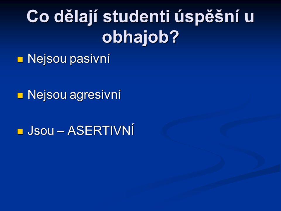 Co dělají studenti úspěšní u obhajob? Nejsou pasivní Nejsou pasivní Nejsou agresivní Nejsou agresivní Jsou – ASERTIVNÍ Jsou – ASERTIVNÍ