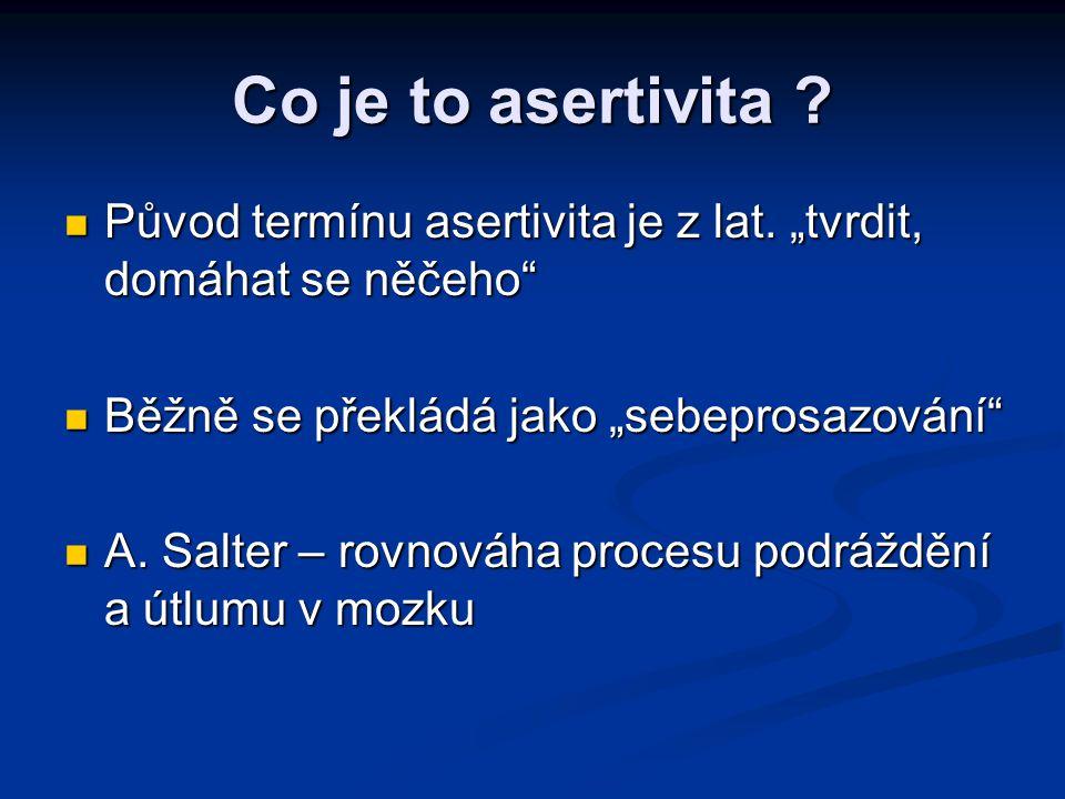 """Co je to asertivita ? Původ termínu asertivita je z lat. """"tvrdit, domáhat se něčeho"""" Původ termínu asertivita je z lat. """"tvrdit, domáhat se něčeho"""" Bě"""