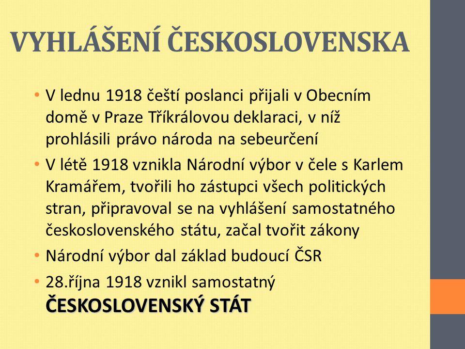 VYHLÁŠENÍ ČESKOSLOVENSKA V lednu 1918 čeští poslanci přijali v Obecním domě v Praze Tříkrálovou deklaraci, v níž prohlásili právo národa na sebeurčení