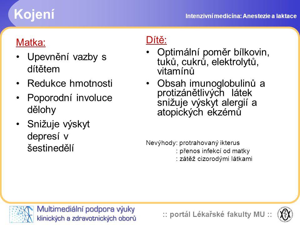 :: portál Lékařské fakulty MU :: Kojení Intenzivní medicína: Anestezie a laktace Matka: Upevnění vazby s dítětem Redukce hmotnosti Poporodní involuce dělohy Snižuje výskyt depresí v šestinedělí Dítě: Optimální poměr bílkovin, tuků, cukrů, elektrolytů, vitamínů Obsah imunoglobulinů a protizánětlivých látek snižuje výskyt alergií a atopických ekzémů Nevýhody: protrahovaný ikterus : přenos infekcí od matky : zátěž cizorodými látkami