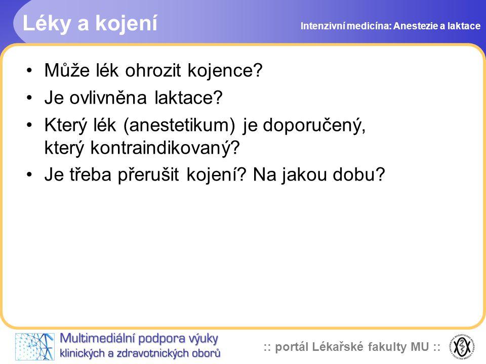 :: portál Lékařské fakulty MU :: Farmakokinetika léku Intenzivní medicína: Anestezie a laktace Plasmatická koncentrace léku u matky Přestup do mateřského mléka Mléčno/plazmatický kvocient (0-20) GIT kojence Přijatá dávka ml/kg: C max x M/P kvocient x 0,03 l/kg
